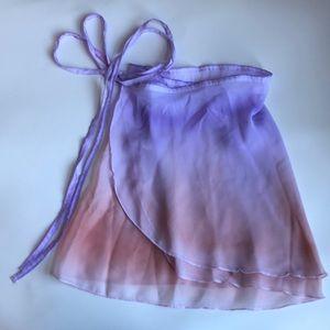 Watercolor Wrap Ballet Skirt Light Purple Pink S